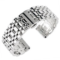 Silver Watchband 20/22/24mm Watch Strap Polished Stainless Steel Bracelet
