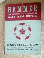1971 West Ham United v Manchester City, 20 Nov (League Division One)