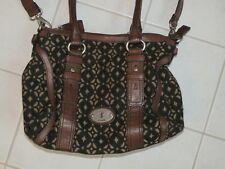 FOSSIL  Handtasche  schwarz-braun  Teil-Leder   *TOP*