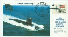USS DANIEL BOONE SSBN-629 USN Missile Submarine Color Photo 20th Handstamped PM