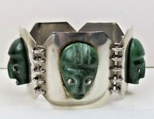 BOLD ANTIQUE MEXICAN STERLING SILVER GREEN ONYX MASK WIDE LINK BRACELET 7.5""