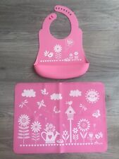 Brinware USA Matching Silicone Baby Bib & Placemat for Infants Toddler Travel