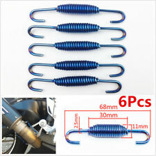 6x Motorcycle ATV Exhaust Muffler Pipe Silencer Swivel Springs Puller Hook Blue