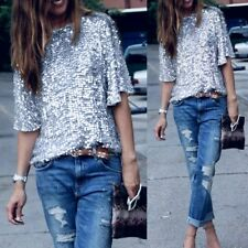 Lovely & Fabulous Loose Silvery Sequined Short Sleeve T-Shirt Blouse Top M