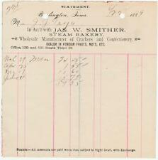 1889 Statement James W. Smither Wholesale Mfg. Crackers & Candies Burlington, Ia