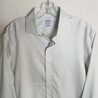 Brooks Brothers 1818 Mens White Plaid Button Front Dress Shirt Size 16-33  F111