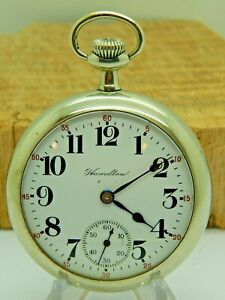 Antique Hamilton Grade 924 17 Jewel 18 size WWI world war one pocket watch clean