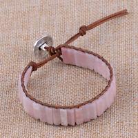 Pulsera de Cuero cuentas de tubo de Piedra ópalo rosa brazalete para mujeres