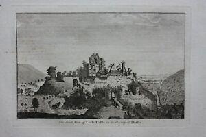 CORFE CASTLE, DORSET, original antique print, Boswell, 1786