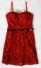 NWT Red & Black Floral Lily Rose Dress Juniors / Misses size Large