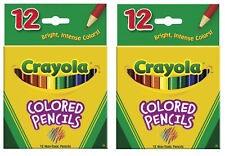 Crayola 4112 Colored Pencils 12 Pack PreSharpened Non-Toxic SET OF TWO!