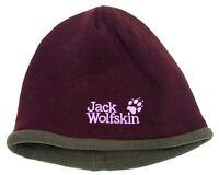 Jack Wolfskin Unisex Hat Winter Maroon Red Fleece Lined Beanie Embroidered Logo