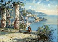Y GIANNI Gouache Painting ITALIAN COASTAL LANDSCAPE - ITALY - 20TH CENTURY