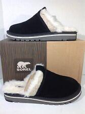 Sorel Women's Size 8 Newbie Black Suede Lined Slippers Mules Scuffs ZX-1488