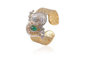 Pave 10.25 TCW Round Baguette Cut Diamonds Emerald Cuff Bracelet In 585 14K Gold