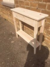 BESPOKE H70 W60 D30cm CONSOLE HALL TABLE CHUNKY UNTREATED 1 SHELF STRAIGHT LEGS