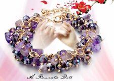Charm Bracelets Gold Chain Bangle Cuff Women Purple Natural Stone Beads Crystal