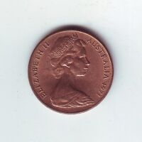 1971 2 Two Cent Cents Coin Australia  Q-591