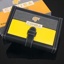 COHIBA Yellow Black Leather Cedar Wood Cigar Holder Case Humidor Holds 4 Cigars