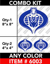 "TRANSFORMERS DECEPTICON COBRA 3 COMBO KIT DECAL STICKER 8"" / 4""  Any 1 Color"