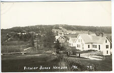 Bucks Harbor ME Elevated View Two Women near fence Real Photo RPPC Postcard