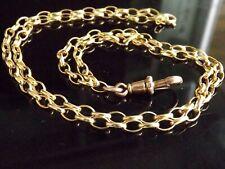 """Antiguo Vintage 18"""" 9ct dorado de Belcher Cadena & 9ct Oro Rosa Perro Collar De Clip"""