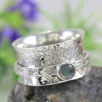Labradorite Solid 925 Sterling Silver Spinner Ring Meditation Ring Size Sr202