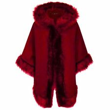 Womens Ladies FAUX FUR PONCHO CAPE Celeb Trim Hooded Jacket Lush Wrap Coat 8-20