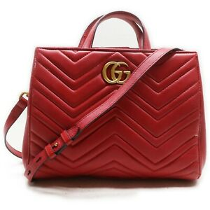 Gucci Hand Bag  Reds Leather 841246