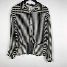 I Love H81 Womens Shirt Medium Black Ivory Sheer Striped Long Sleeve