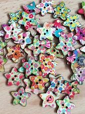LOT OF 10 X WOODEN STAR BUTTONS CRAFT SEWING SCRAPBOOKING