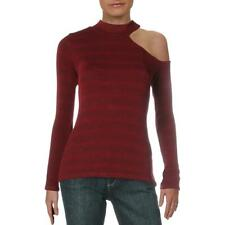 Red Haute Womens Red Ribbed Lace-Up Sweater Knit Top Shirt S BHFO 3159