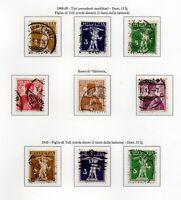 1909-1911 SVIZZERA TELL E HELVETIA 3 SERIE COMPLETE 9 VAL. USATI UNIF.N.128-136