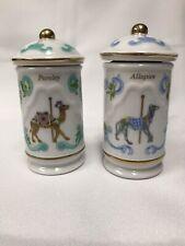 Vintage 1993 The Spice Carousel Lenox Fine Porcelain Jars - Parsley & Allspice