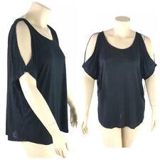 Mudd Top Women Plus 2X Thin Slub Knit Round Neck Short Sleeve Cold Shoulder New
