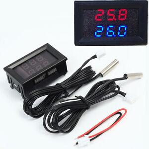 Dual Digital LED Display Red+Blue Temperature Gauge Sensor Air Charge Water