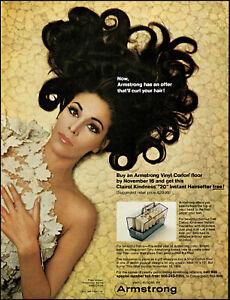 1968 Curled hair woman Armstrong vinyl corlon floor vintage photo print Ad adL92