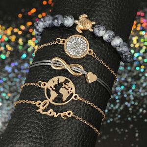 Gold Tortoise Best Wish for Family Love Heart Crystal Multilayer Chain Bracelets