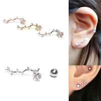 16G Constellation Barbell Helix Bar Earring CZ Stud Surgical Steel Ear Piercing