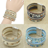 Modern Women Bohemian Leather Multilayer Colored Bracelet Wrap Bangle Jewelry