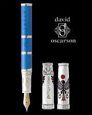 David Oscarson Rosetta Stone Blue & Silver LE Fountain Pen - Brand New!!