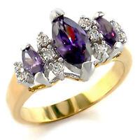 Bague luxe plaqué or 18k femme mode chic serti zirconium améthyste diamant