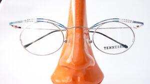 Ausgefallene Balken Brille oval blau silber Damen Gestell Brillenfassung Gr M