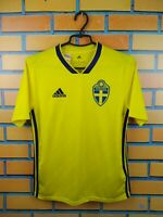 Sweden Jersey 2018 2019 Home Youth 13-14 Shirt BR3830 Soccer Football Adidas