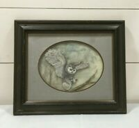 Vintage H A Cleveland Hand Painted Owl Framed Wall Hanging Gray