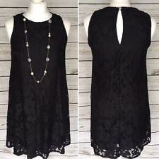 River Island Black Floral Lace Sleeveless Swing Dress Size 10 UK