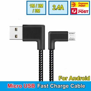 Braided 90° Degree Right Angle Micro USB Fast Data Charging Android Cable AU