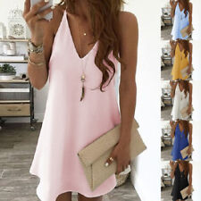 Summer Womens V Neck Solid Short Dress Casual Loose Beach Party Suspender Dress