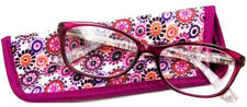 New Foster Grant Readers Choice Gweenie Magenta 2.75 Reading Glasses W/Soft Case