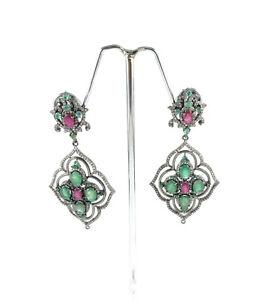 Vintage Pave Diamond 925 Silver Natural Ruby Emerald Gemstone Dangle Earrings